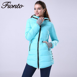Wholesale Down Jacket Women White - Wholesale- FIONTO Winter Coat Women New Winter Jacket For Women Hooded Long Cotton Warm Coat Slim Waist Thick Parkas Outwear 2017 F007