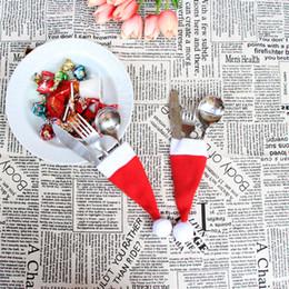 Wholesale Mini Santa Hats - New Christmas Hat Silverware Holder Xmas Mini Red Santa Claus Cutlery Bag Party Decor Cute Gift Hat Tableware Holder Set free shipping B0601