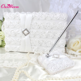 Wholesale Ceremony Set Pen - 2Pcs lot White Rose Wedding Guest Book and Pen Set with Rhinestones Satin Fabric Wedding Ceremony Wedding Decoration Supplies <$16 no tracki
