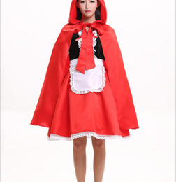 Wholesale Sexy Little Red Riding - Wholesale Halloween Women's Sexy Little Red Riding Hood Costume Party adult Small Red Cap cosplay Dress New Clothing Halloween for Women