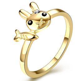 Wholesale Fish Rabbit - Cute Cartoon Rings Europe and United States Fashion Lovely Rabbit Fish Crystal Ring Gold Plated Jewelry for Women Girls Wholesale Price