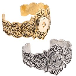 Wholesale Free Couple Wristbands - Free DHL Alloy Gothic Charms Wristbands 2 Color Couple DIY Jewelry Bracelet Couple Snap Bracelet Fit 18MM Noosa Button E830L