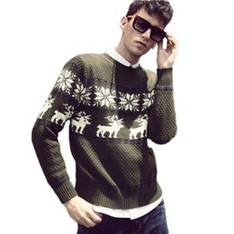 Wholesale Men S Christmas Clothes - Wholesale-2016 New Winter Fall Autumn Christmas Deer Men's Sweater pullover Polo Sweaters Brand Cotton men Casual Clothing