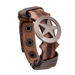 Wholesale First Movies - First layer of leather hoop retro leather bracelets for men Round Pentagram Charm Leather bracelet punk bracelet