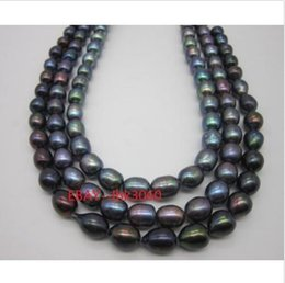 """Wholesale Real Gold White Pearl Necklace - real charming 50"""" 10-12mm tahitian black pearl necklace 14k yellow golden clasp@"""