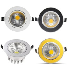 Wholesale Cob Dimmable 9w - (Silver White Golden Black) Newest Dimmable Led Downlights 9W 12W 15W COB Led Down Light Recessed Ceiling Light AC 85-265V + CE ROHS UL