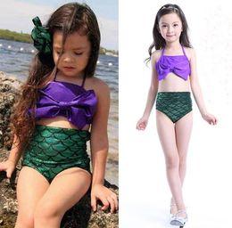 Wholesale Girls Childrens Swimwear - Kids Swimming Costumes Summer Mermaid Swim Suit Girls Swimsuits Cute Childrens Swimwear Bikinis Set Fashion Split Girl Swimsuit 11384