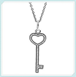 Wholesale Unlocked Link - High-quality 925 Sterling Silver Unlock My Heart Necklace Pendant Necklace with Clear Cz fit European Pandora Style Charm Jewelry and Bead