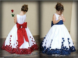 Wholesale Hand Made Flower Jewel Dress - Flower Girl Dresses With Red And White Bow Knot Rose Taffeta Ball Gown Jewel Neckline Little Girl Party Pageant Gowns 2016 Fall New