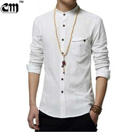 Wholesale Men Casual Shirts White - Wholesale- 2017 New Autumn Fashion Brand Men Colthes Slim Fit Men Long Sleeve Shirt White Linen Shirts Men Casual Business Shirts Plus size