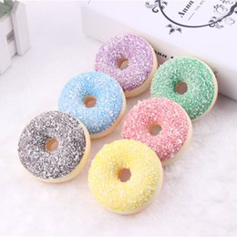 Wholesale Magnetic Kitchen - 6.5cm Kawaii Rare Squishy colorful donut refrigerator magnets mix color Wholesale Free Shipping squishy packages kids kitchen food toys