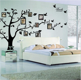 Wholesale tree decor stickers - Free Shipping:Large 180*250Cm 79*99in Black 3D DIY Photo Tree PVC Wall Decals Adhesive Family Wall Stickers Mural Art Home Decor