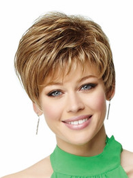 Wholesale Hair Highlights Wig - Xiu Zhi Mei Hot sell Natural highlights short blonde wig synthetic afro hair, puffy straight short wigs for black women free ship