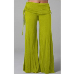 Wholesale Wide Legged Drawstring Pants - Hot sale Wide Leg PantNew Womens Fashion Yoga Cotton Wide Leg Sportwear pants Casual Loose Long Pants Sexy Dance Trousers