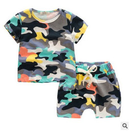 Wholesale Camo T Shirts Wholesale - baby boy clothes 2016 summer outfits Camo Cotton T-shirt Tops+Shorts Fashion Kids Children's day gift Casual Clothing Sets 6335