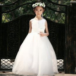 Wholesale Boutique Wedding Gowns - Summer New Sleeveless Cotton Boutique Girl Dress 3D Flowers Embellished Belt Wedding Flower Girl Dress Plus Size 3T-12T