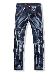 Wholesale Spliced Jeans - Mens Rock Revival full length jeans stripe straight patchwork denim pants scratched zipper fly spliced slim jeans men rock revival jeans
