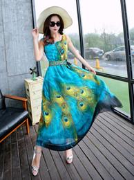 Wholesale Casual Peacock Dresses - 2016 Women Summer Style Floral Print Maxi Beach Dress Sleeveless Maxi Dresses Three-dimensional peacock bohemian dress Plus Size S-XXL NSQ77