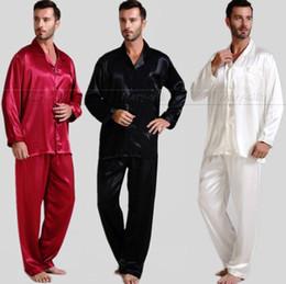 Wholesale Silk Onesies - Wholesale-Mens Silk Satin Pajamas Set Pajama Pyjamas PJS Sleepwear U.S.S,M,L,XL,2XL,3XL,4XL