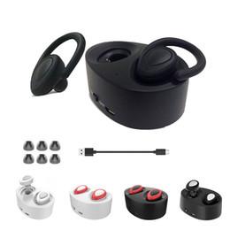 Wholesale Earhook Mic - Mini Twins Earphone Mic K2 Sports Wireless Bluetooth Headphones Stereo In-Ear Earbuds With Portable Earhook Charge Battery Box