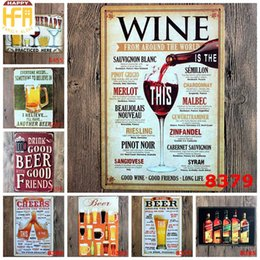 Wholesale Carved Wall - Tin Signs 20*30Cm Wall Painting Wine Paintings Beer Bar Dinning Restaurant Paintings Decorations Multi Patterns Wholesale