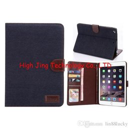 Wholesale Cover Mini Ipad Slot - Denim jean Wallet Leather Stand with credit Card Money slot Cover for Apple ipad MINI 2 3 4 retina wallet stand flip cover