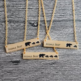 Wholesale Mother Child Charms - Mama Bear Tag Engraved Animal Pendant Necklace Gold Silver Mother Kids Love Necklace Simple Fashion Mom and Children Jewelry