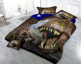 Wholesale Dinosaur Bedding Queen - Custom Drawings Can be Customized 3D Furious Dinosaurs Cotton Satin 4-Piece Duvet Cover Sets Bedding Sets