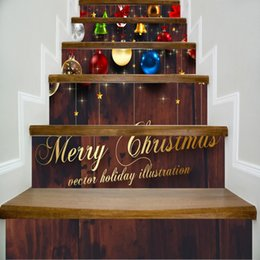 Wholesale Candy Graphics - 6pcs set 18cm x 100cm Bells Candy Ball Merry Christmas Quotes Stair Sticker Wall Decor LTT084
