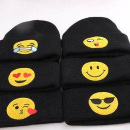 Wholesale Woolen Caps For Boys - Baby Gilrs Boys Emoji Hats Kids Skullies Beanies Hat Casual Knitted Beanie Cap Children's Knitted Woolen Hats for Winter
