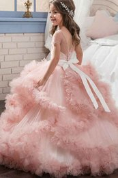 Wholesale Small Pageant Dresses - HarveyBridal V-Neck Back Tulle Small Girl's Pageant Dresses 2017 Sky Blue Ball Gown Pretty Flower Girls Wedding Party Gowns Lace up Back