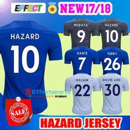 Wholesale Fabregas Jersey - #9 MOROTA Home blue Third BLACK Soccer Jersey 17 18 #10 HAZARD #22 FABREGAS TERRY WILLIAN short sleeve 2018 KANTE Football uniforms Shirt