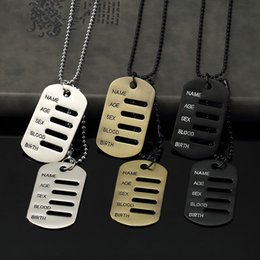 Wholesale military pendant for men - Mens Jewelry Necklace Card Fashion Jewelry Military Tag Pendant Punk Stainless Steel Beads Chain 70cm Long For Men