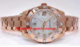 Bracelets en diamant saphir en Ligne-Montres de luxe Top Sapphire Pièce 81315 18K R Cadran Or Diamant Femme Automatique Bracelet Femmes Montres Montre