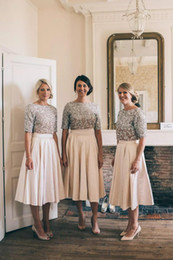 Wholesale Tea Length Empire Bridesmaid Dresses - New 2018 Bling Vintage Bridesmaid Dresses Half Sleeves Two Pieces Sequins Lace Baby Pink Tea Length Maid Of Honor Gowns Wedding Guest Dress