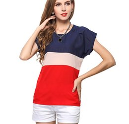 Wholesale Striped Dolman Tee - New Design Summer Chiffon T-shirts Ladies Tops Casual Tees Womens Fashion Tshirts Short Sleeve O-neck Teeshirts Plus Size S M L XL 2XL 3XL