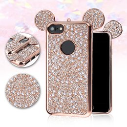 Wholesale Cartoon Mickey ears Crystal Pearl Rhinestone Case paint color TPC Bling Glitter rock Diamond Material cover For IPhone X Plus OPP BAG