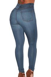 Wholesale Cheap Women Jeans Pants - Cheap Wholesale Wash Denim High Waist Skinny Jeans Women Super Stretch Slim Hip Plus Size Denim Trousers Long Casual Pencil Pants Blue 78638