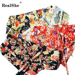 Wholesale Kimono Fabrics Red - Wholesale- RealShe Fabric Printed Flower OBI Belt Japanese Geisha Kimono Sash Tie Ribbon Custom Vintage Waistband Strap Women Accessories