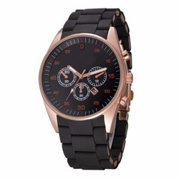 Wholesale Silicone Date Watch - Fashion popular Top Brand rmani Men's stainless steel + Silicone band Date Calendar quartz wrist Watch 5905