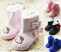 Wholesale Cheap Baby Winter Boots - 2016 Tall boots warm red win KT tassels side thickening snow boots Cheap kids boots soft bottom bow 11,12,13 CM baby wear 12pair 24pcs CL