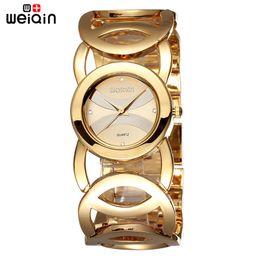 2019 relógio de pulseira chapeada Hot Sale Weiqin Marca Banhado A Ouro de Aço Inoxidável Moda Pulseira Janpan Quartzo Mulheres Relógios De Pulso De Luxo À Prova D 'Água Relogio feminino desconto relógio de pulseira chapeada
