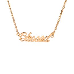 Wholesale Blessing Word Charm - Gold Silver Plated Tiny Stamped Lucky Letters Necklace Simple Blessed Word Good Luck Necklaces for Friends free shipping