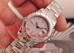Senhoras relógios de prata on-line-Alta Qualidade Senhoras Platina SS Yachmaster Platinum Índice 169622 SANT BLANC Mulheres Automáticas Assista Relógios