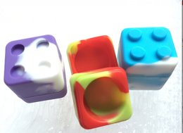 Wholesale Container Cube - Silicone Container Silicone Non Stick Stackable Jar Container Cube Silicone Container Dab Wax Oil Container Dab Wax BHO Container for Wax