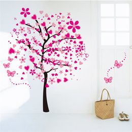 Wholesale Wall Decals Horses - Creative DIY 3D wall sticker horse for kids room Carved Removable kindergarten stickers big pink tree love pvc Decorating 2017 Wholesale