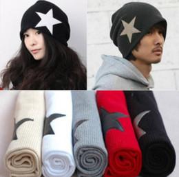 2019 bonnet étoile rouge Unisexe Hommes Crochet Star Beanie Chapeau Skull Cap Ski Knit Hiver Femmes Chapeaux Noir / Rouge pour Noël a2 bonnet étoile rouge pas cher