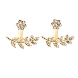 Wholesale Insert Stud Earrings - 2017 New Arrival Crystal Stud Earrings For Women Micro Insert Flower Leaf Studs Earring Fashion Hot Sale Bijoux Jewelry Ear Stud