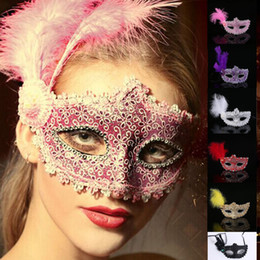Wholesale Venice Half Masks - MJ011 Venice mask Black white red Women Feathered Venetian Masquerade Masks for a masked ball Lace Flower Masks 6 colors For Hallween