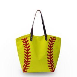 Wholesale Leather Handbag Materials - Canvas Material Women Handbag Baseball Softball Sport Tote Bag with Zipper Pocket inside PU Faux leather Handle DOM103281